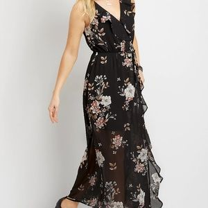 floral ruffle wrap maxi dress  Maurices